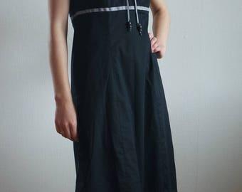Vintage Black  Summer Dress, Black  Cotton Dress, Sleeveless Dress, Size M