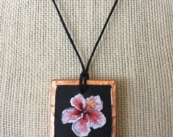 Painted hibiscus pendant, Hawaiian flower necklace, Tropical flower art, Pink flower jewelry, Hawaii art necklace, Floral painting pendant