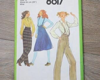 70s Suspender Trousers & Skirt pattern, Size 10 70s pattern, Simpicity Pattern 8617
