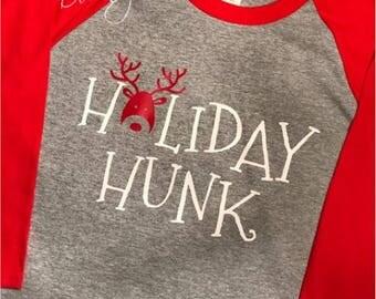 Holiday Hunk Raglan 3/4 Sleeve Shirt/Unisex T-Shirt/Multiple Colors