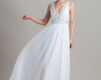 Embroidered wedding dress, Lace wedding dress, Romantic wedding dress, Simle wedding dress, Wedding gown, Couture gown, Greek wedding dress