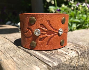 Upcycled Tan Patterned Brown Leather Cuff Bracelet with Silver Crystal Rivets