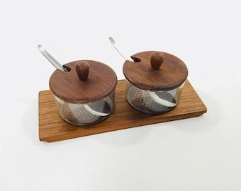 Danish Teak Lüthje Wood Condiment Dishes   Vintage Serving Tray Denmark