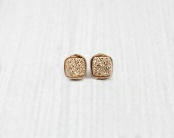 Druzy Stud Earrings, Rose Gold Stud Earrings, Druzy Earrings, Bridesmaid Earrings, Gifts for Her, Druzy Post Earrings, Post Earrings, Bridal