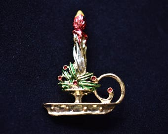 Vintage Enamel Christmas Candle Holiday Coat Sweater Pin Retro Costume Jewelry 1.75""