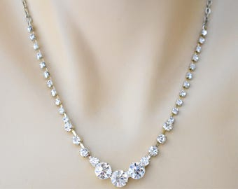 Vintage Ornate Rhinestone Princess Necklace Retro Formal Prom Wedding Bride Minimalist Costume Estate Jewelry 20""