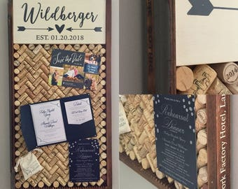 Vintage Letterpress Drawer Personalized Cork Board & Message Center - Wedding gift, Housewarming gift, Rustic Decor, Farmhouse Decor