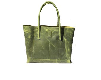 Leather bag, big shopper used look leather, greenery, vintage design, handmade