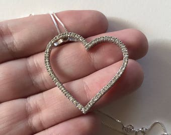 Large Open Heart Cubic Zirconia 925 Sterling Silver Pendant Necklace