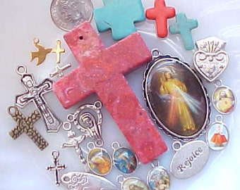 Religious Bead Mix Rosary Charms Rosary Making Supplies Cross Charms Catholic Medals Kitsch Beads Crucifix Charms Lot Saint Picture Charms
