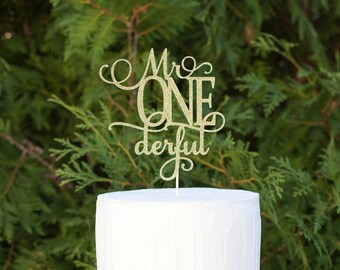 mr ONEderful Cake Topper, First Birthday Cake Topper, Mr One Derful Cake Topper,  I Am One, Baby Boy's First Birthday,  Smash Cake Topper