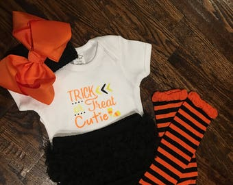 Halloween outfit, photo prop, leg warmer set, baby girl halloween, ruffled bloomers