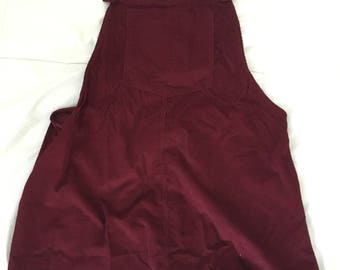 Maroon overall dress with brass buttons // size M to L