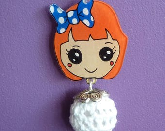 Necklace silver sterling 925 redhead girl kawaii chibi crazy crazy plastic hand painted bead crochet heart charm