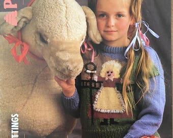 Little Bo Peep Knitting Pattern, Patons Knitting Pattern, Childrens Little Bo Peep Sweater, Nursery Rhyme Jumper, Girls Jumper, No. B 8402