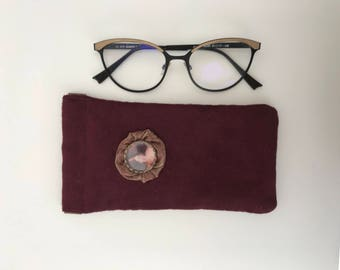 Burgundy suede glasses case / / vintage glasses case / / Empress sissi glasses case / / handmade glasses case / / sissi