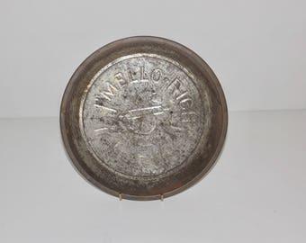 "Mello Rich Mrs. Smiths metal pie tin,ribbon logo,9"" pie plate,metal bakeware,metal pie pan,bakery decor,bakers gift,vented pie tin,rustic"