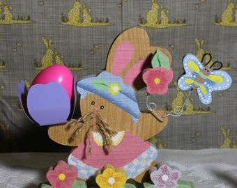 Vintage Rustic Wood Bunny Rabbit, Easter Egg Display Holder