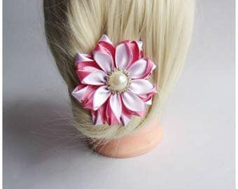 Satin Flower Hairclip/Hairclip with Kanzashi Flower dusty rose and white/Satin Hair accessory/Up to 160 Custom Colors
