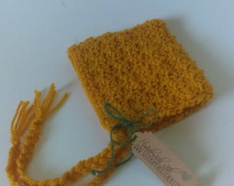 Newborn Gold/Mustard Yellow Crochet Baby Bonnet/ Baby Hat/ Baby Sun Hat