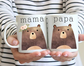 mama bear coffee mug, papa bear coffee mug, couples mug set, his and hers coffee mugs, matching mugs, mama bear gift, baby bear announcement