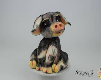 Peanut the pig cake topper tutorial. Instant PDF download, full colour step by step guide.
