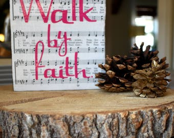 Walk by Faith Scripture Wood Art