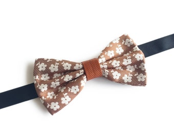 "Floral Light Brown Pre Tied Bow Tie ""Zeeman"", Best Handmade Gift For Men, Weddings, Birthday, Valentines Day"