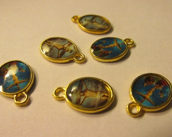 Mini Religious Oval Charms, 15mm, Set of 6
