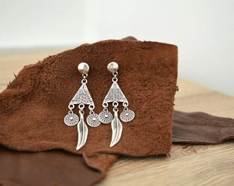 Silver Dangling Feather and Coin Earrings, Silver drop earrings, Bohemian Ethnic Tribal earrings, free people style dainty earrings