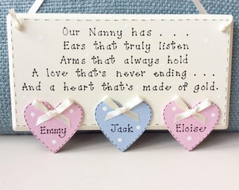 Personalised Nanny Plaque - Mothers Day, Nanny Plaques , Nana, Gran, Personalised Plaques , Mothers Day Gifts , Nanny Gifts.