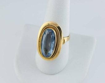 Vintage Circa 1940's 14K YG Oval Blue Stone Ring, Size 9