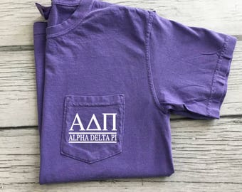 Alpha Delta Pi T-Shirt, ADPi Pocket Tee, Alpha Delta Pi, Sorority pocket t-shirt, Little Sis ADPi gift, Greek letter shirt, Recruitment