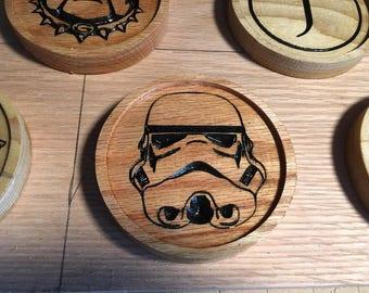 Wooden Drink Coaster | Carved Oak Coaster | Engraved Coaster | Gifts for Him | Wooden Barware | Oak Drinkware | Solid Wood Drink Holder