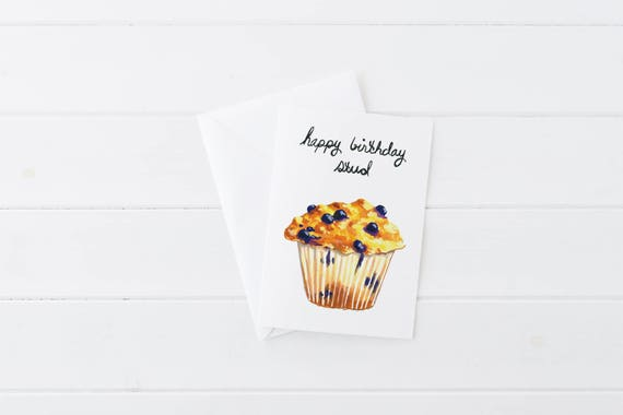 Happy Birthday Stud Muffin Food Pun Brunch Funny Boyfriend Birthday Card 5x7