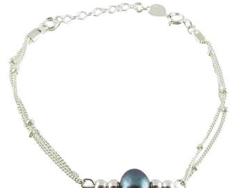 Silver bracelet freshwater pearls black (made in France)
