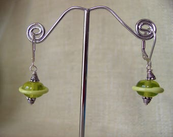 Lampwork Saucer Pierced Earrings, Lime, Sterling Silver Earwires