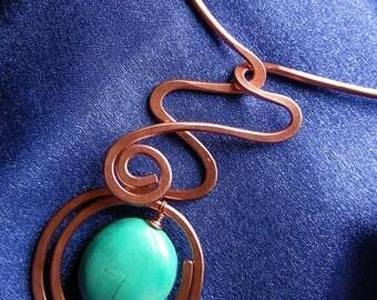 Copper Wire Necklace with Howlite Semi-Precious Bead