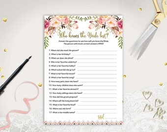 Floral Bridal Shower Game Printable Who Knows Bride Best Wedding Shower Game Card Bridal Shower Activity How Well Do You Know Bride