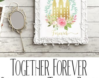 Customized LDS Temple Digital Print, Together Forever