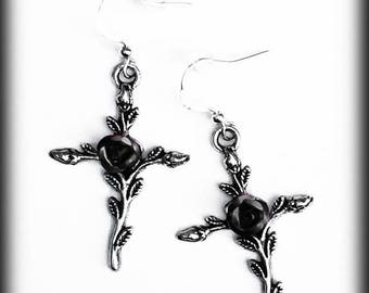 Gothic Cross Earrings, Black Rose Earrings, Gothic Jewelry, Antique Silver, Gothic Victorian Earrings, Gothic Gift, Romantic Jewelry