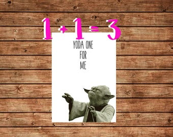 Funny Star Wars Birthday Card, Yoda One For Me Card, Funny Yoda Card, May The Fourth Be With You, Instant Download, Ptintable DIY