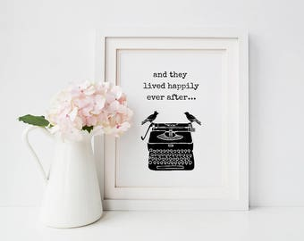 Newlyweds gift, And they lived, Happily ever after, Book lover, book theme wedding gift, Paper anniversary for her (frame not included)