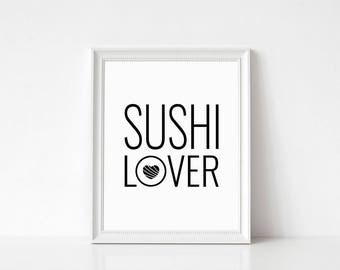 Foodie gift, Sushi Print, Pun, Food art, Cafe decor sign, Choice of colors, Fast shipping to USA & UK