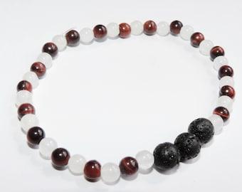 Lava Rock Diffuser Essential Oil Mala Bracelet Yoga Bracelet Intention Bracelet Namaste Bracelet 4mm Red Tigers Eye Jade Bracelet