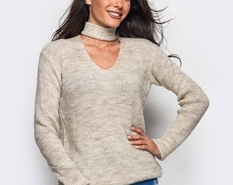 Beige wool sweater White knitted sweater Womens Magenta sweater openwork Sweater long sleeve White Knit sweater handmade Sweater spring