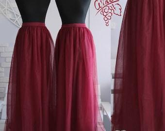50 Wine Bridesmaids Tulle Skirt Long  Floor Length Dress Women's Tulle Skirt Bridal  Women Tulle Skirt Wedding Long Dark Red Tulle Dress