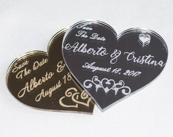 Save our date, Personalized save the date tags, Engraved wedding tags, Wedding magnets, Personalized gold Save the Dates, Wedding Guest Gift