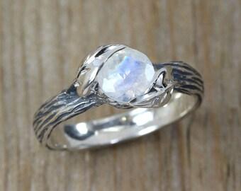 Moonstone Ring, Moonstone Nature Ring, Rainbow Moonstone Leaf Ring, Sterling Silver Ring, Bark Ring, Vine Ring, Leaves Ring, Promise Ring
