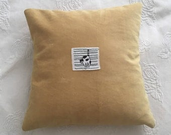 Hand Stitched Pillow with Cat Embroidery